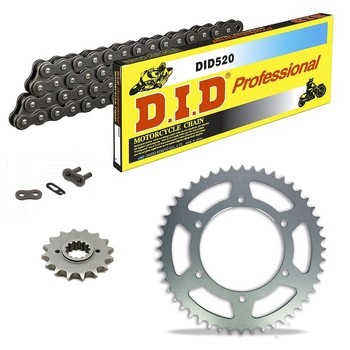 Sprockets & Chain Kit DID 520 Steel Grey APRILIA AF1 125 Futura 90-93