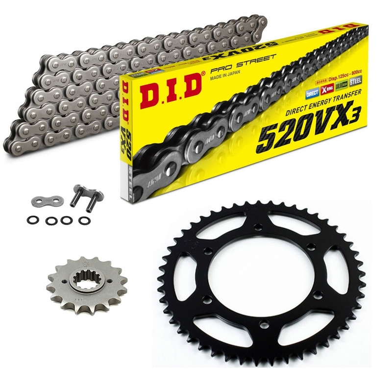 Sprockets & Chain Kit DID 520VX3 Steel Grey APRILIA 125 ETX 86-87