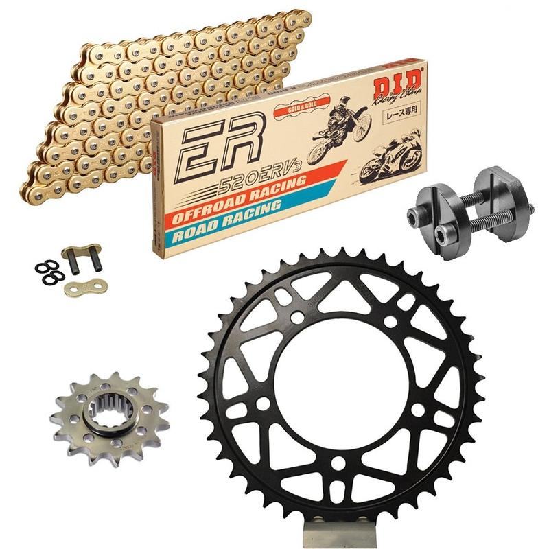 Sprockets & Chain Kit DID 520ERV3 MotoGP Gold APRILIA RSV4 1000 R APRC Conversion 520 Ultralight 11-15 Free Riveter!
