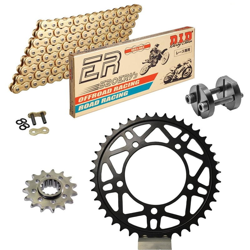Sprockets & Chain Kit DID 520ERV3 MotoGP Gold APRILIA Tuono 1000 R Racing Conversion 520 Ultralight 04-09 Free Riveter!