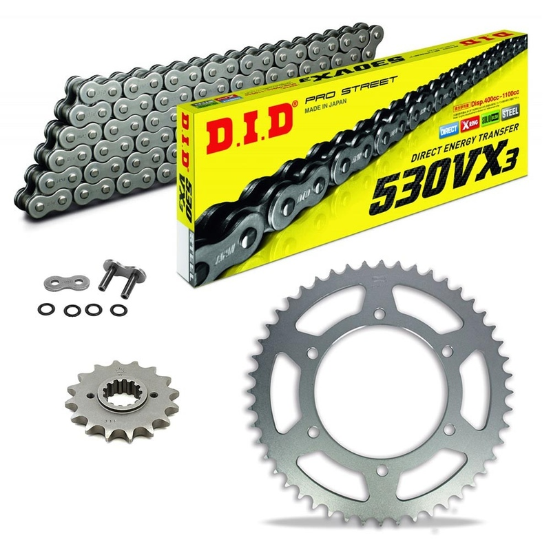 Sprockets & Chain Kit DID 530VX3 Steel Grey CAGIVA Elefant 650 Trail 85-87