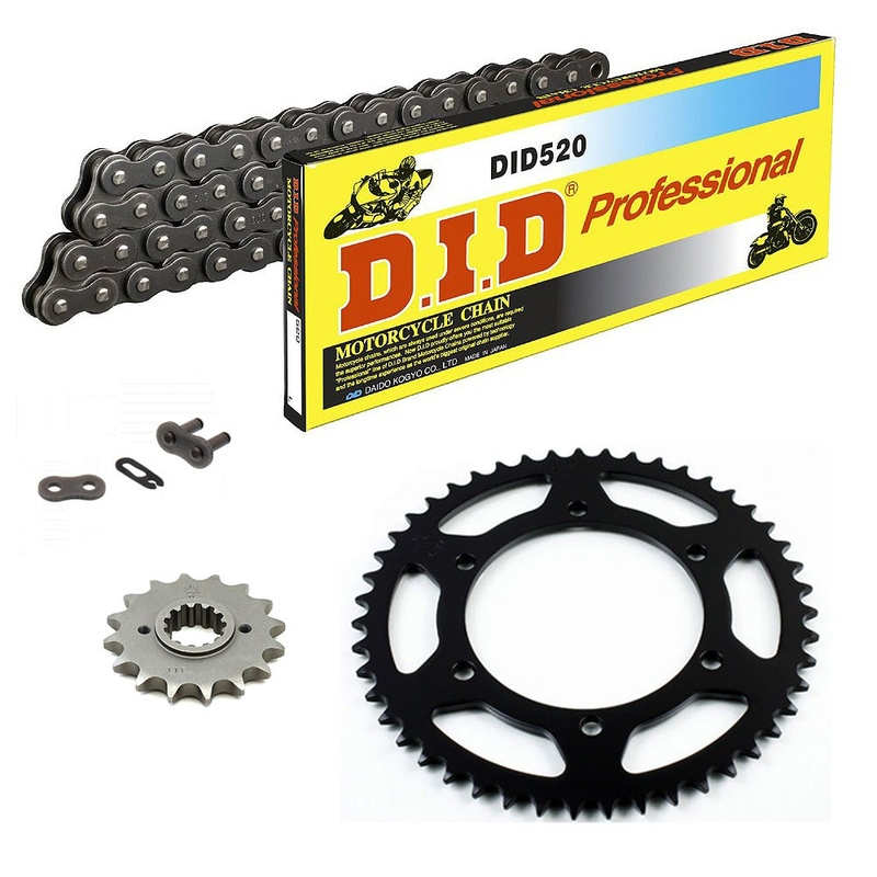 Sprockets & Chain Kit DID 520 Steel Grey CAGIVA Mito 125 Sports 90-92