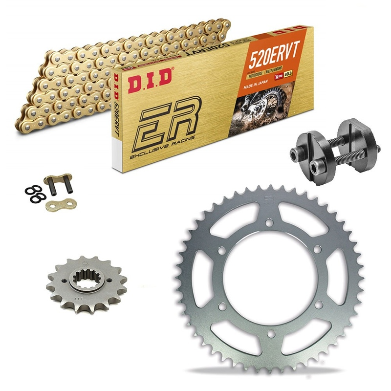 Sprockets & Chain Kit DID 520ERVT Gold CAGIVA W 125 MX 87-88 Free Riveter!