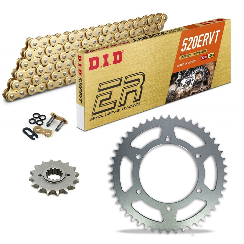Sprockets & Chain Kit DID 520ERVT Gold DERBI DXR 250 Inverse 04-08