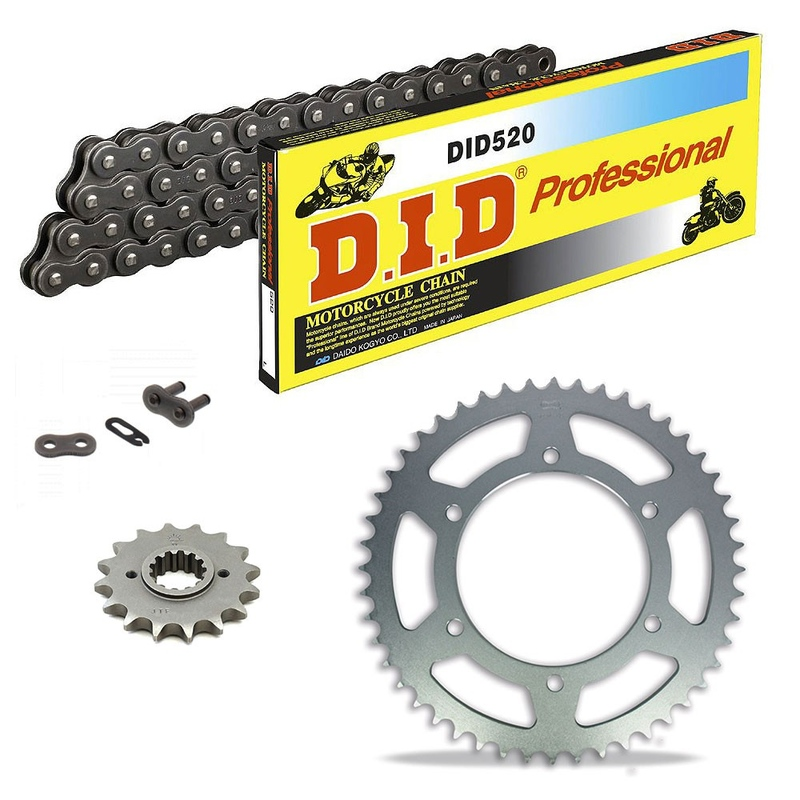 Sprockets & Chain Kit DID 520 Steel Grey DERBI DXR 250 Inverse 04-08