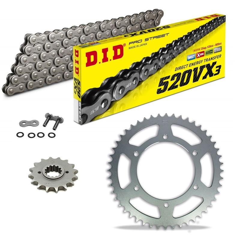 Sprockets & Chain Kit DID 520VX3 Steel Grey DERBI DXR 250 Inverse 04-08