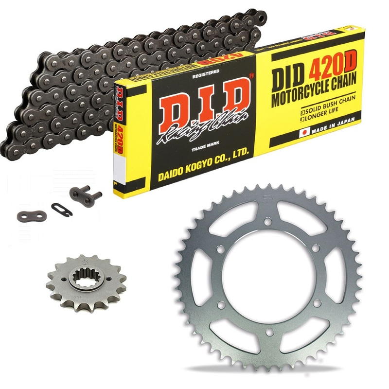 Sprockets & Chain Kit DID 420D Steel Grey DERBI Senda 50 SM DRD Racing Ltd. 06-07