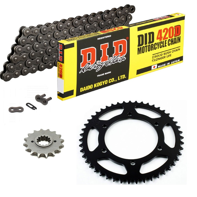 Sprockets & Chain Kit DID 420D Steel Grey DERBI Senda 50 SM X-Race 00-05