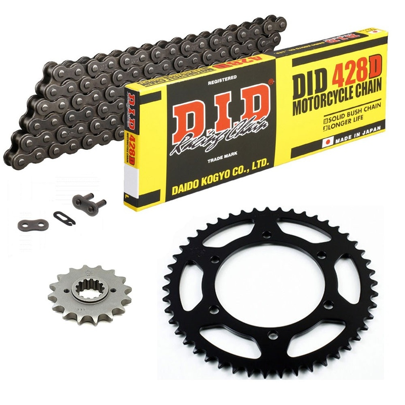 KIT DE TRANSMISION DID 428HD GRIS ACERO DERBI Senda 125 SM 04-07