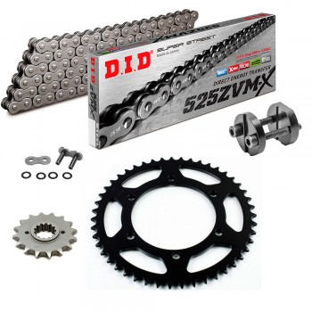 Sprockets & Chain Kit DID 525ZVM-X Steel Grey BMW F650 GS 10,5mm 08-12 Free Riveter