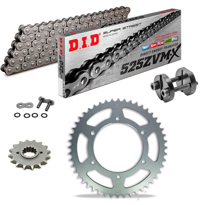 Sprockets & Chain Kit DID 525ZVM-X Steel Grey BMW F 850 GS 18-20 Free Riveter!