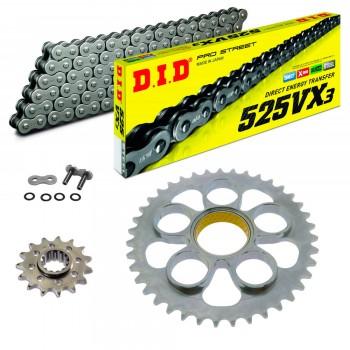 Sprockets & Chain Kit DID 525VX3 Steel Grey DUCATI 996 R / S 01-01